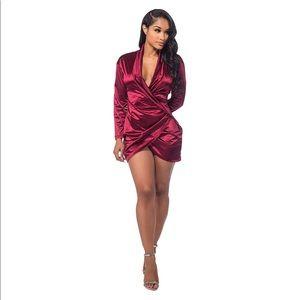 Dresses & Skirts - Sexy Long Sleeve Deep V Neck Club Mini Dresses
